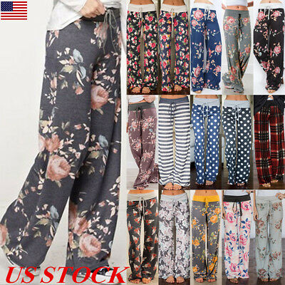 US Women's Floral Casual Wide Leg Long Pants Bohemian Loose Palazzo Trousers New