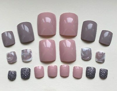 Hand Painted False TOE NAILS. Press/Stick on. Set of 20. Nude Pink Marble MATCH