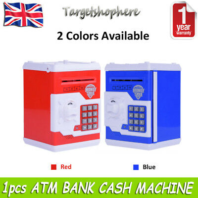 Kids Atm Bank Cash Machine Coin Note Counter Savings Money Box Gift Bank Safe Uk