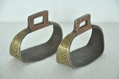 2 Pc Old Iron Brass & Copper Fitted Handcrafted Horse Footrest / Stirrup