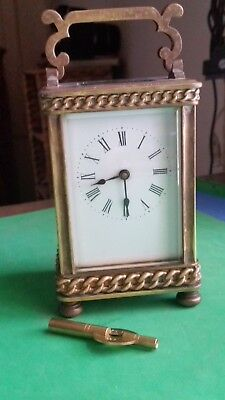 Victorian Brass Carriage Clock+key. Full working order. Jewel Lever escapement.