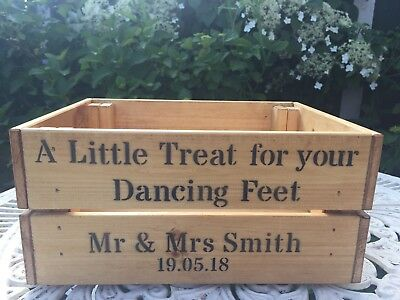 d2578c8fbebc2b Personalised A Little Treat For Your Dancing Feet Wooden Crate Box Wedding  Party