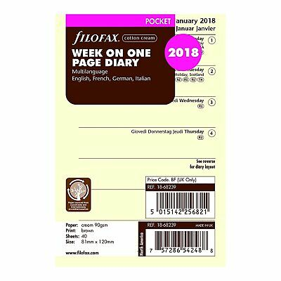 Filofax 2018 Pocket Week On A Page Refill Cream Paper 4.75 x 3.25 inches Mini