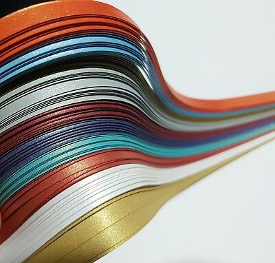 2# Brand New 100 x 5mm Metallic Assorted Quilling paper strips Quilling supplies