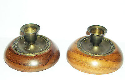 """Pair of Turned Wood & Brass Candle Sticks by Roger Sadler """"Accent on Wood""""."""