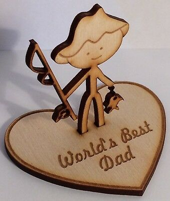 Father's Day Fishing 'World's Best Dad/Grandad' - wooden personalised gift