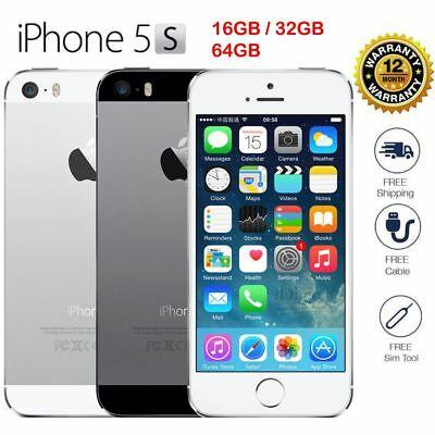 """Apple iPhone 5S - 16 32 64G -  """"Factory Unlocked"""" Smartphone Gold Gray Silver!"""
