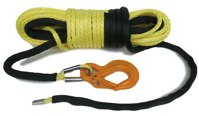 100ft 11mm Synthetic Winch Rope, & Hook, 11800KG  MBL UPMWPE  self recovery 4x4.