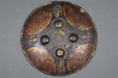 A rare painted dhal shield - Rajasthan, 18th 1st half 19th century