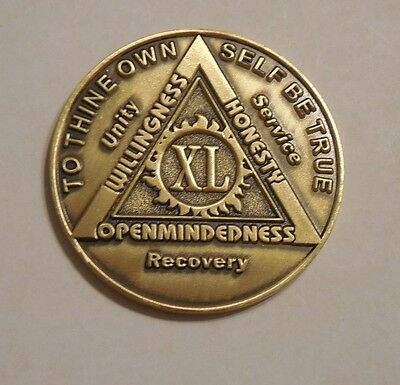 aa bronze alcoholics anonymous 40 year sobriety chip coin token medallion