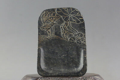 Antiques Chinese Old Jade stone hand-carved dragon Ink stone A56