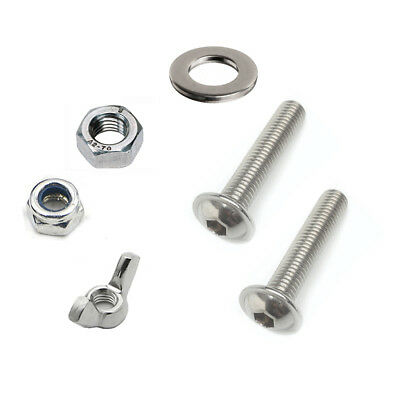 FLANGE BUTTON Screw Set with Nut & Washers Size M3 to M8 A2 Stainless Steel