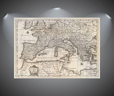 147258 Vintage World Map of Europe Wall Print Poster AU
