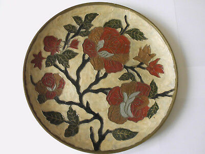 Rare Vintage Wall-Hung Cloisonné Decorated Brass Coated Bronze Ornamental Plate