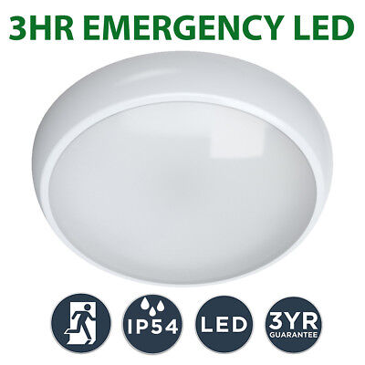 LED 3hr Emergency Maintained Non Maintained Round Ceiling Bulkhead Light IP65