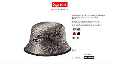 NEW Supreme x The North Face Snakeskin Reversible Crusher Bucket Hat L XL    S ebff9e9b8d8