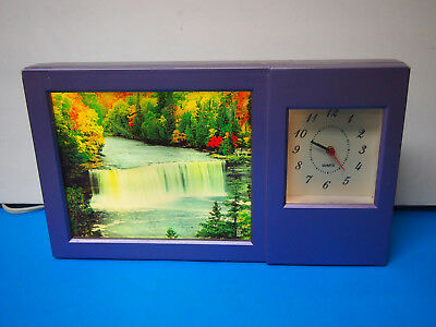 Vintage Motion Moving Waterfall Scene Picture Clock Light With Sound