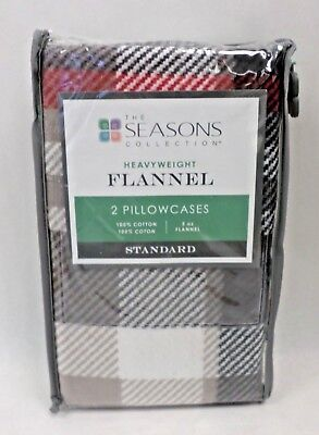 Flannel Standard Pillowcases The Seasons Collection Heavyweight Red Taupe Plaid
