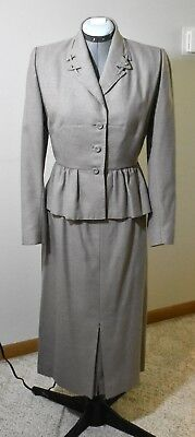 Vintage Women's Gray Taupe Wool Suit Blazer and Skirt Set Chic Tailored Ruffled