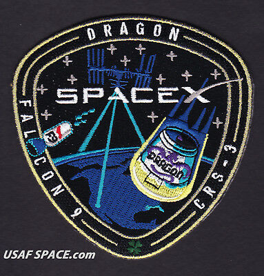 CRS-3 AUTHENTIC SPACEX Mission DRAGON FALCON 9 ISS NASA CARGO RESUPPLY PATCH