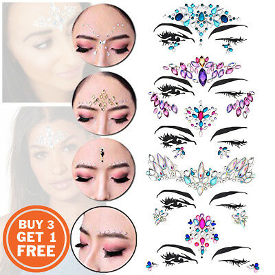 Adhesive FACE GEMS Festival Body Jewel Tattoo Wedding Fancy Rave Party Make Up