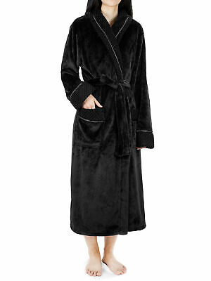 Womens Luxury Microfiber Fleece Satin Trim Spa Robe Satin Bathrobe Plush Pajama
