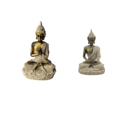 2Pcs Delicate Natural Sandstone Meditation Buddha Carved Furnishing Article