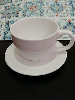 Ceramic White Large Oversized Tea Cup And Saucer