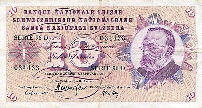 Switzerland  10  Francs  6.1.1977  Series  100 O  Circulated Banknote E218S