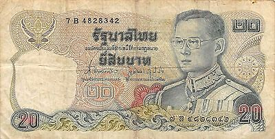 1981 P 88 Prefix 0 E Sign Humorous Thailand 20 Baht Nd # 60 Circulated Banknote