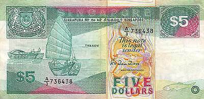 Singapore $5  ND. 1989 P 19  Prefix A/3 circulated Banknote G. A2