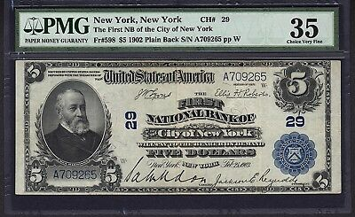 1902 $5 First NB of the City of New York PMG 35 Fr598 Charter CH#29 #1538135-007
