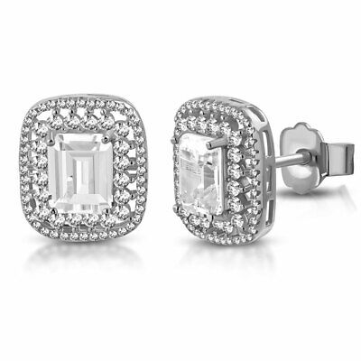 925 Sterling Silver Large Statement Rectangular Clear CZ Stud Earrings, 0.65""