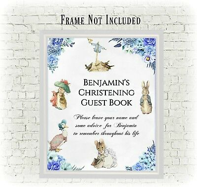 Personalised Beatrix Potter Peter Rabbit Party/Christening Guest Book Sign