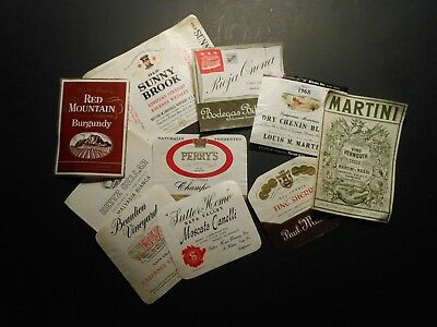 "(10) VINTAGE WINE / LIQUOR BOTTLE LABELS   ""EUROPE & UNITED STATES""  see photos"