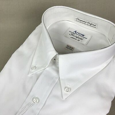 Arrow Fairfield Vintage White Pinpoint Oxford 15.5 32/33 Athletic Fit Med Pima