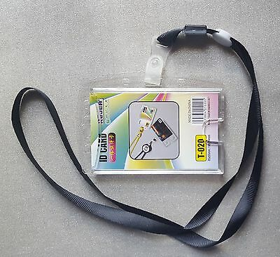 Id Card Holder Lanyard Badge Crystal Security  Photo Identity Pass Acrylic 2Way