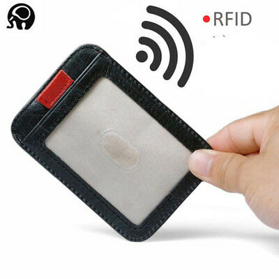 RFID Blocking Genuine Leather Minimalist Wallet ID Credit Card Holder Money Clip