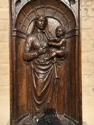 Early oak Flemish Gothic Madonna & Child/church piece / Medieval/Virgin Mary