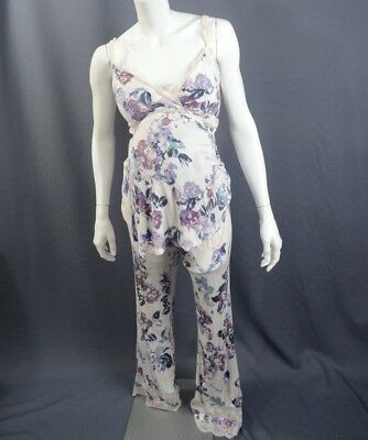 A Pea In The Pod Nursing Maternity Pajama Set SZ S Floral Lace Two Piece Padded