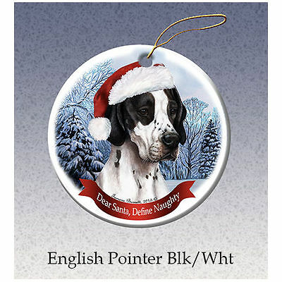 English Pointer Black Howliday Porcelain China Dog Christmas Ornament