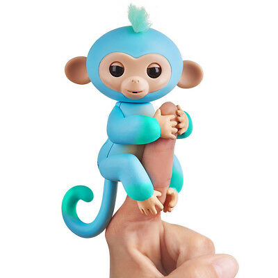 Fingerlings Interactive Two 2-Tone Monkey CHARLIE Blue & Green AUTHENTIC WowWee