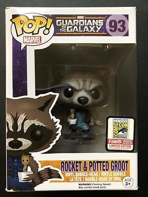 Funko Pop! Marvel Guardians Of The Galaxy Rocket Raccon (Nova) & Potted Groot#93