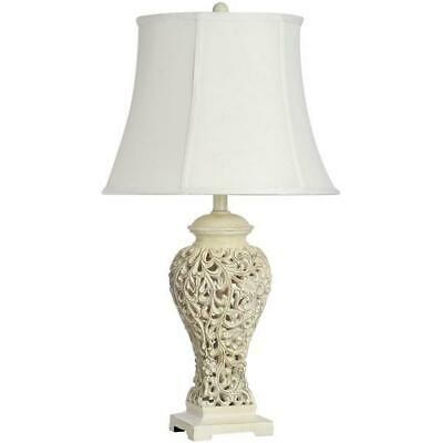 74CM Huge Cream Table Buffet Lamp Light Filigree Shabby Chic w Fabric Shade