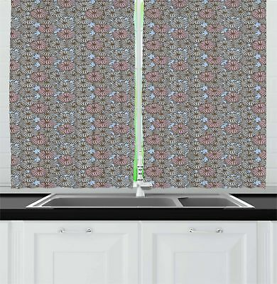 """Aqua and Coral Kitchen Curtains 2 Panel Set Window Drapes 55"""" X 39"""" Ambesonne"""