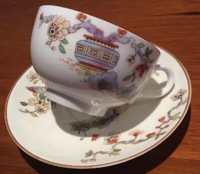 Royal Worcester Cup Saucer Pattern # 608482 Set Japanese Flowers White China