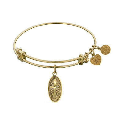 Non-Antique Smooth Finish Brass Cross In Oval Angelica Bangle