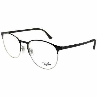dad1b1b418 RAY-BAN RX 6375 2861 Silver on Black Metal Round Eyeglasses 51mm ...