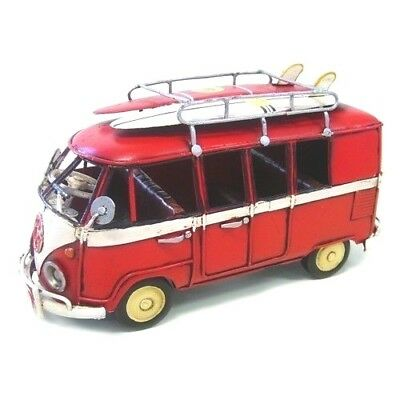 V W  Kombi Surfing  Van  Red   Surfboards       Metal