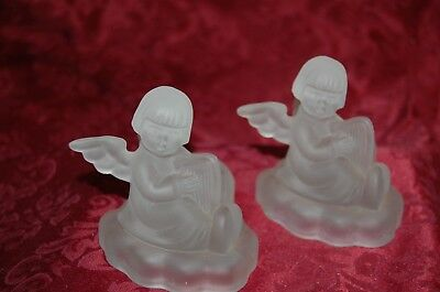 "One 1995 Avon/Hummel Frosted Angel/Harp Candle Holder 24% Lead crystal 1995 4"" T"